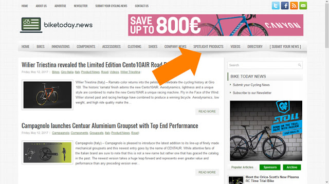 New Section on BikeToday.news – Spotlight Products