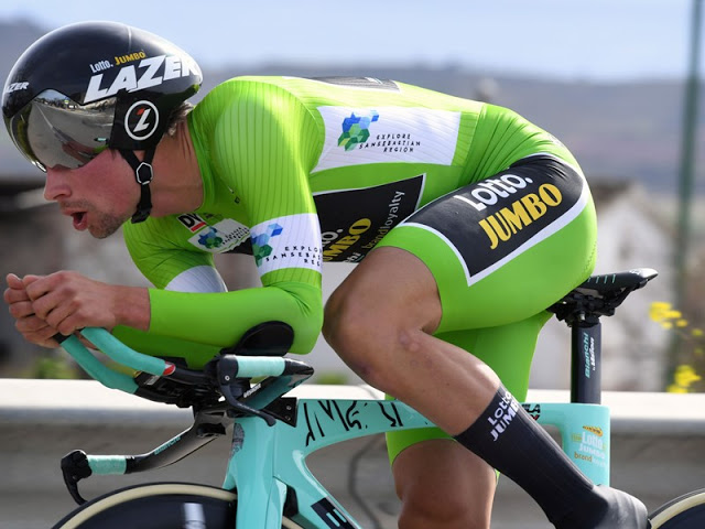 Strong Roglic wins time trial and takes lead in Vuelta al Pais Vasco