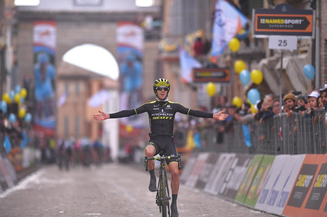 Adam Yates breaks down the walls to win stage five of Tirreno-Adriatico