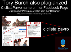 Tory Burch also plagiarized CiclistaParvo name on her Facebook Page